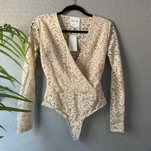 Cream Lace Surplice Wrap Bodysuit